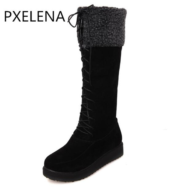 669e9fd5dcf PXELENA 2017 New Winter Warm Hot Sale Faux Suede Boots Womens Flat Lace Up  Fur Lined Knee High Snow Boots Ladies Shoes Plus Size