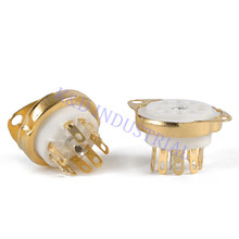 2pcs Ceramic Valve Tube Socket 9Pin Gold Plate Chassis B9A Base 6922 6N11 12AX7 Audio DIY amp