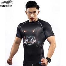 TUNSECHY brand Mens Compression Shirts Bodybuilding Skin Tight Short Sleeve Jerseys Rashguard Crossfit Weight Lifting Shirt