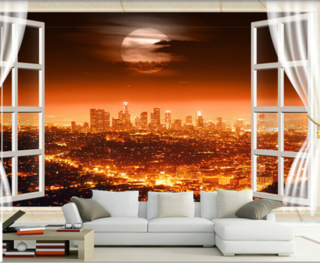 the latest 3d mural 3d beautiful city night view outside 18467 | the latest 3d mural 3d beautiful city night view outside the window bright lights living room 640x640