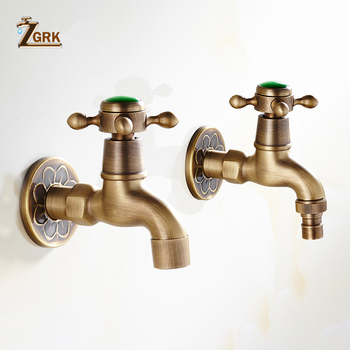 ZGRK Brass Wall Mounted Dragon Carved Tap Faucet Garden Bibcock Washing Machine Faucet Outdoor Faucet Single Cold Tap wall mounted black oil rubbed bronze cross handle washing machine faucet garden single cold faucet zav340