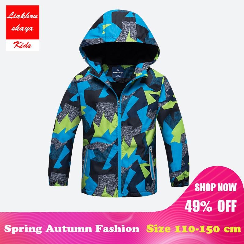 2018 Nya Cool Spring Fashion Barn Jacka Coat Winter Kids Boys Rain Ytterkläder Sporty Hoodie Kläder Dubbeldäck Vattentät