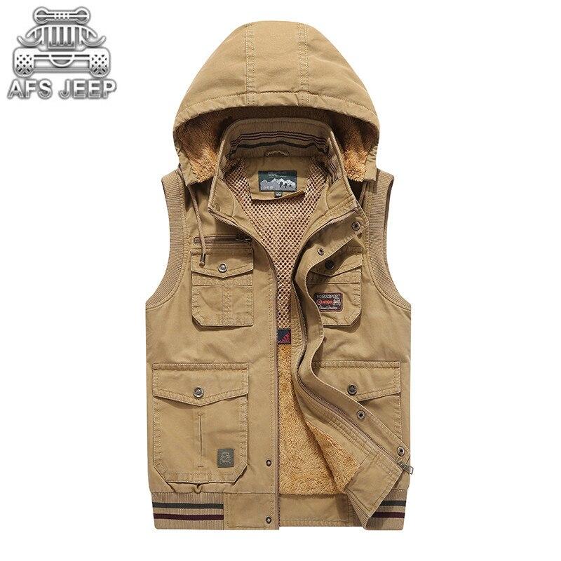 Plus Size L-9XL Autumn Winter Plush Inside Hooded Men Vests Warm Thick Pockets Design Denim Coats Mens 100% Cotton Loose Brand