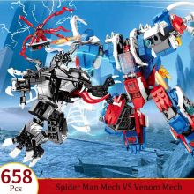 цена Avengers 4 Endgame Avengers Spider Man Mech VS Venom Mech Set Compatible Building Blocks Bricks Boy Toys B458 онлайн в 2017 году