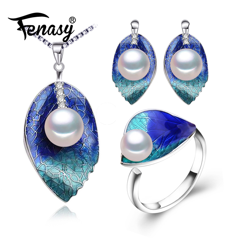 FENASY Pearl Jewelry sets 925 Sterling Silver stud earrings,natural Pearl leaf necklace for women love Cloisonne earrings ring