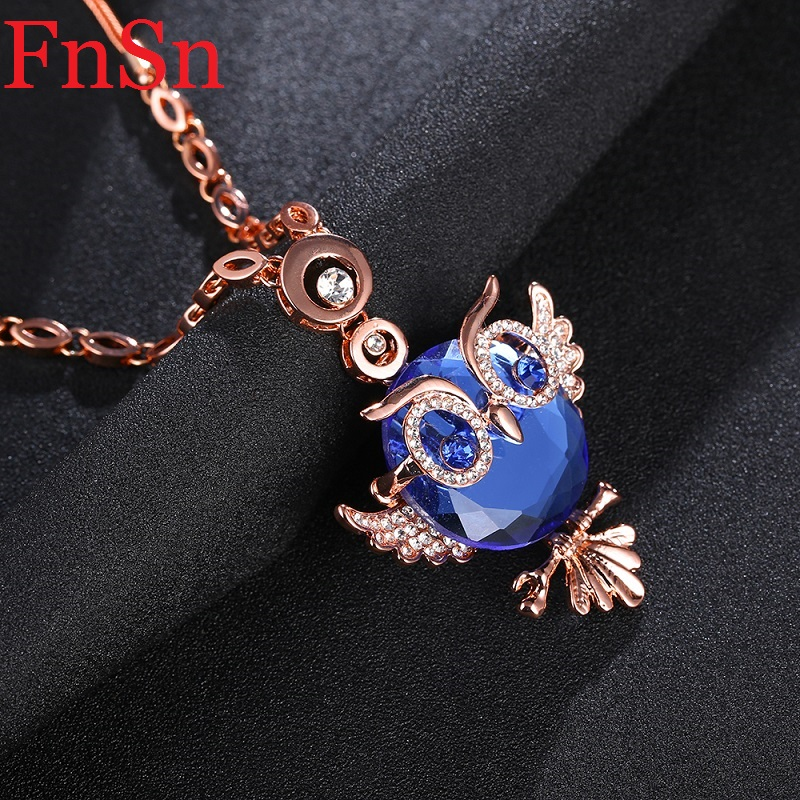 Love Owl Pendant Necklace Women Crystal Collar Necklaces Zinc Alloy Rose Gold Color Link Chain Choker Necklace Animal JewelryHot