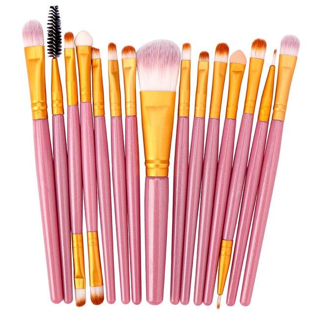 15 pçs conjunto de escova de maquiagem cosmetict maquiagem para rosto compõem ferramentas mulheres beleza profissional fundação blush eyeshadow consealer 3