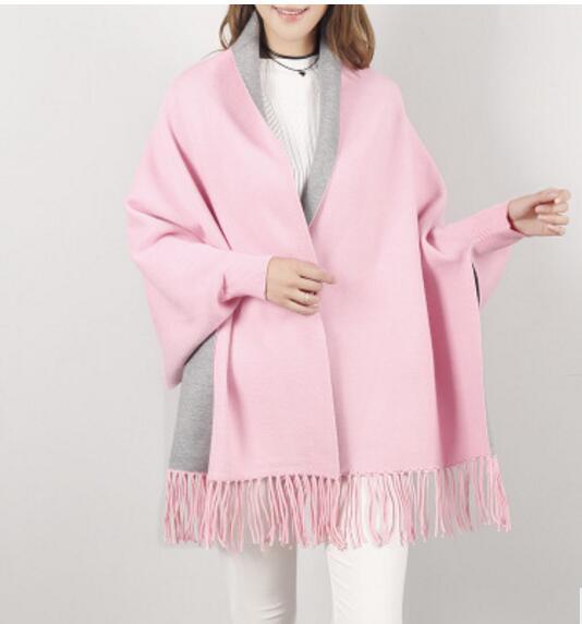 SC2 большой шарф Зимний вязаный пончо женский однотонный дизайнерский плащ женский длинный рукав летучая мышь пальто винтажная шаль - Цвет: Pink With Grey