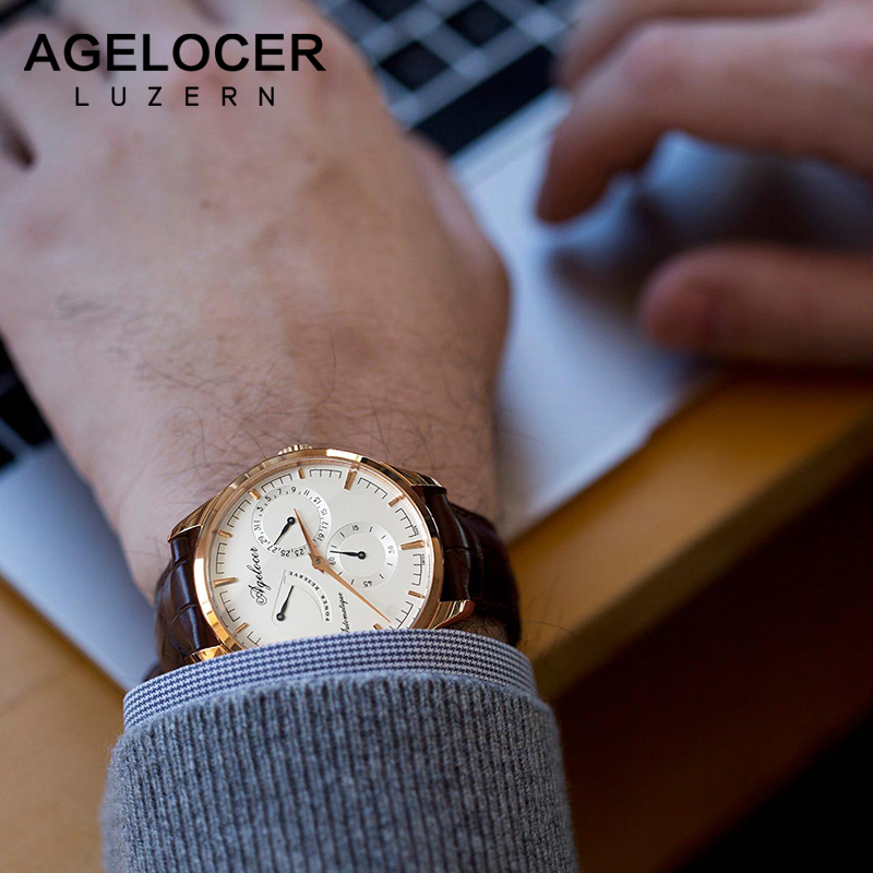 цена Agelocer Swiss logo luxury men watches roles silver gold dress roman automatic watch male auto date wristwatch relojes hombre