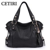 CETIRI Brand 2017 Women European And American Style Luxury Shoulder Bags Hobos Designer Tassel Handbag Leather