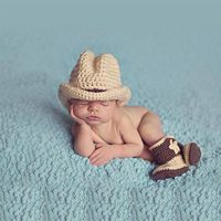 Fashion Cowboy Baby Hats Infant Newborn Photography Props Handmade Crochet Beanie Hat Boots Toddler Knittted Caps