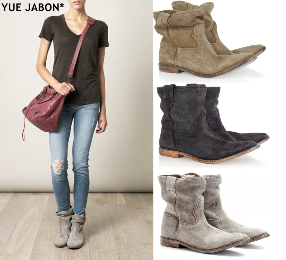 Women Autumn Winter Ankle Boots Suede Leather Shoes Flat Retro Distressed Biker Boots Women Motorcycle Boots Shoes plus size 42-in Ankle Boots from Shoes    1