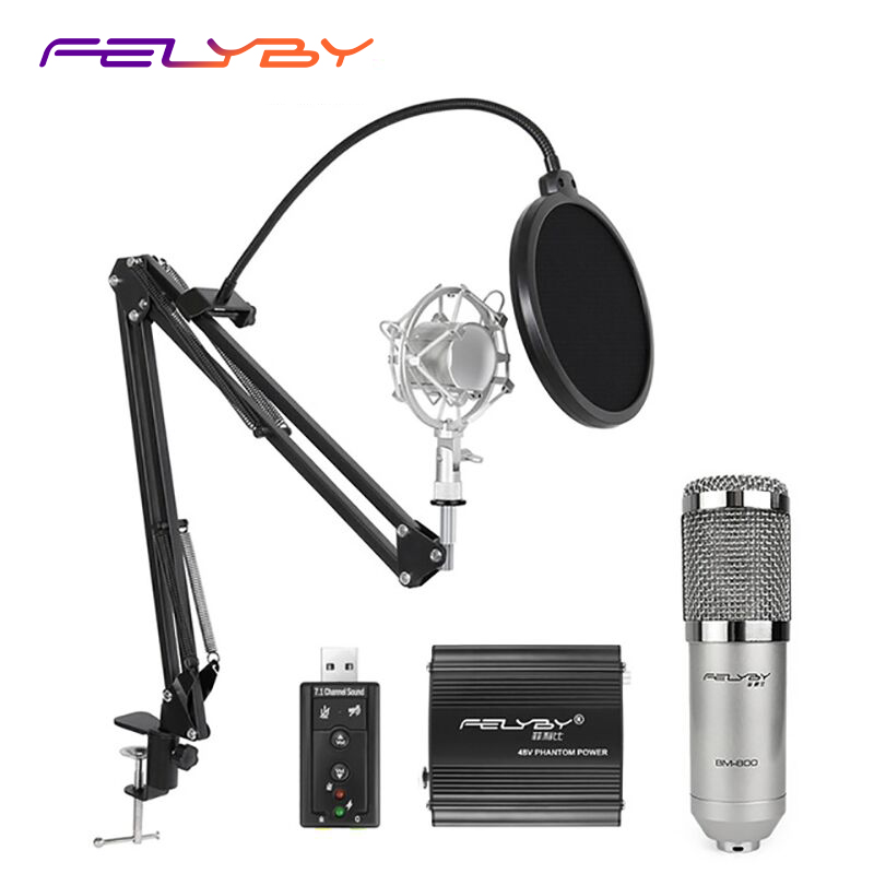FELYBY Professional BM 800 Condenser Microphone sound studio recording broadcasting with stand 48V phantom power for