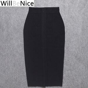 Image 4 - WillBeNice jupe moulante pour femmes, noire, taille haute, fendue à larrière, Sexy, mi mollet à bandes, crayon à bandes, vente en gros, 2019