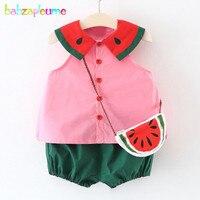 Babzapleume lato newborn baby dziewczyny outfit cartoon słodkie koszulka + spodenki + torba koreański dzieci odzież dla niemowląt odzież zestaw garnitur bc1447