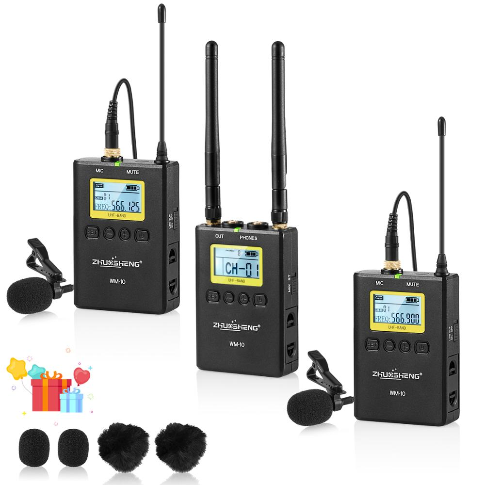 wm 10 professional uhf wireless microphone system lavalier lapel mic receiver transmitter for. Black Bedroom Furniture Sets. Home Design Ideas