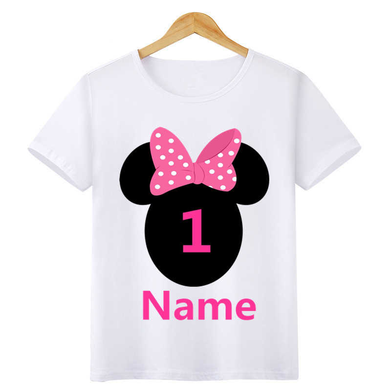 Boys/Girls Birthday Numbers Bow Cartoon Print T Shirt Kids Short Tops Children Design Your Name and number Cute T-Shirt,ooo3055