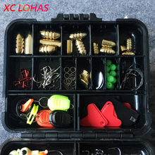 128pcs/set Fishing Accessories Tackle Box with Fishing Hooks Sinkers Trace Wire Line Holder Fishhook Keeper Glow Beads O-rings