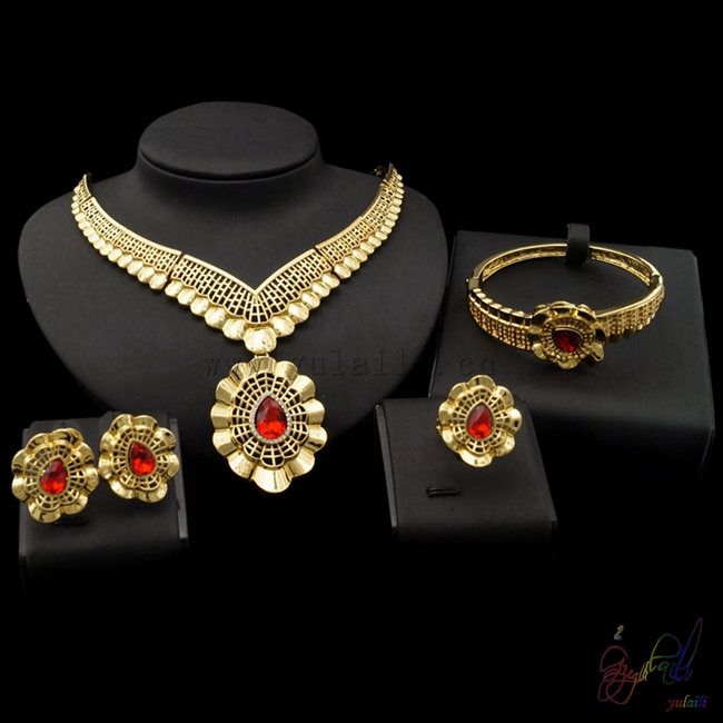 Artificial Bridal Jewellery Sets: Free Shipping Dubai Pure Gold Color Jewelry Sets