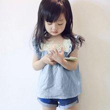 Summer Kids Toddler Girls Casual Lace Stitching Blouse Tops Kids Summer Toddler Girls