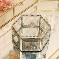 DINIWELL Small Crown Glass Storage Box Organizer For Makeup Cosmetic Case Jewelry Display Decorative Organiser Gift For Girl