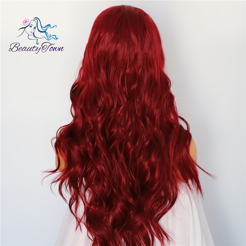 Image 3 - BeautyTown Red Natural Wave Hand Tied Cosplay Women Valentine's Day present Wedding Party Daily Makeup Synthetic Lace Front Wigs-in Synthetic Lace Wigs from Hair Extensions & Wigs