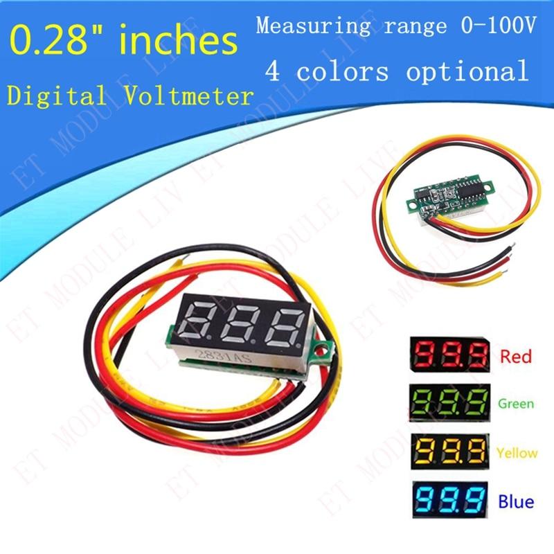 0.28 DC Digital Voltmeter Panel Mount LED Voltage Volt Meter  0-100V red/green/yellow/blue Optional dual red blue led digital voltmeter ammeter panel volt gauge meter