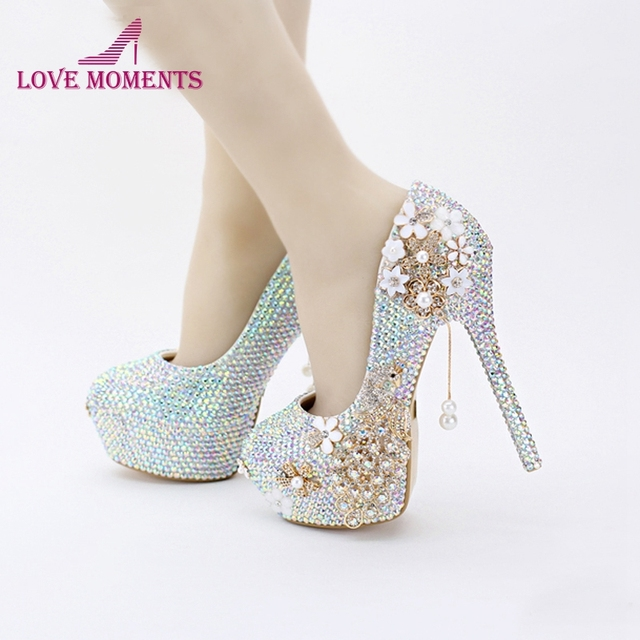 2018 New Design Bling Bling AB Color Wedding Shoes Rhinestone Phoenix Women  Pumps Religious Ceremony High Heels Prom Party Shoes 813e9c8bbaad