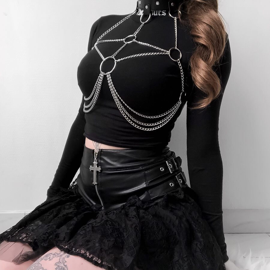 Leather Metal Body Chain Bralete Top Cage Body Harness Punk Gothic Garter Strap Plus Size Fetish Festival Dance Rave Party Club