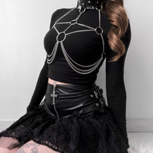 Leather Metal Body Chain Bralete Top Cage Harness Punk Gothic Garter Strap Plus Size Fetish Festival Dance Rave Party Club