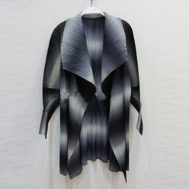 Ronde Forme Chart Plus See Outwear Veste Femmes Chart En Manteaux De Design Taille Gradient see Mode Manteau Manches La Miyak Unique Changpleat Cardigan Plissée TwXOZukPi
