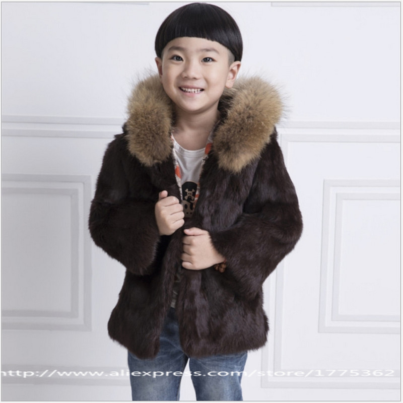 2017 Fashion Rabbit Fur Coat Children Boys Hooded Warm Jacket Coat Baby Short Full Solid Colthing Hat Raccoon Collar Coat C#20 jkp 2018 autumn and winter new stars with the same coat genuine rabbit fur coat big raccoon fur collar children s jacket ct 16