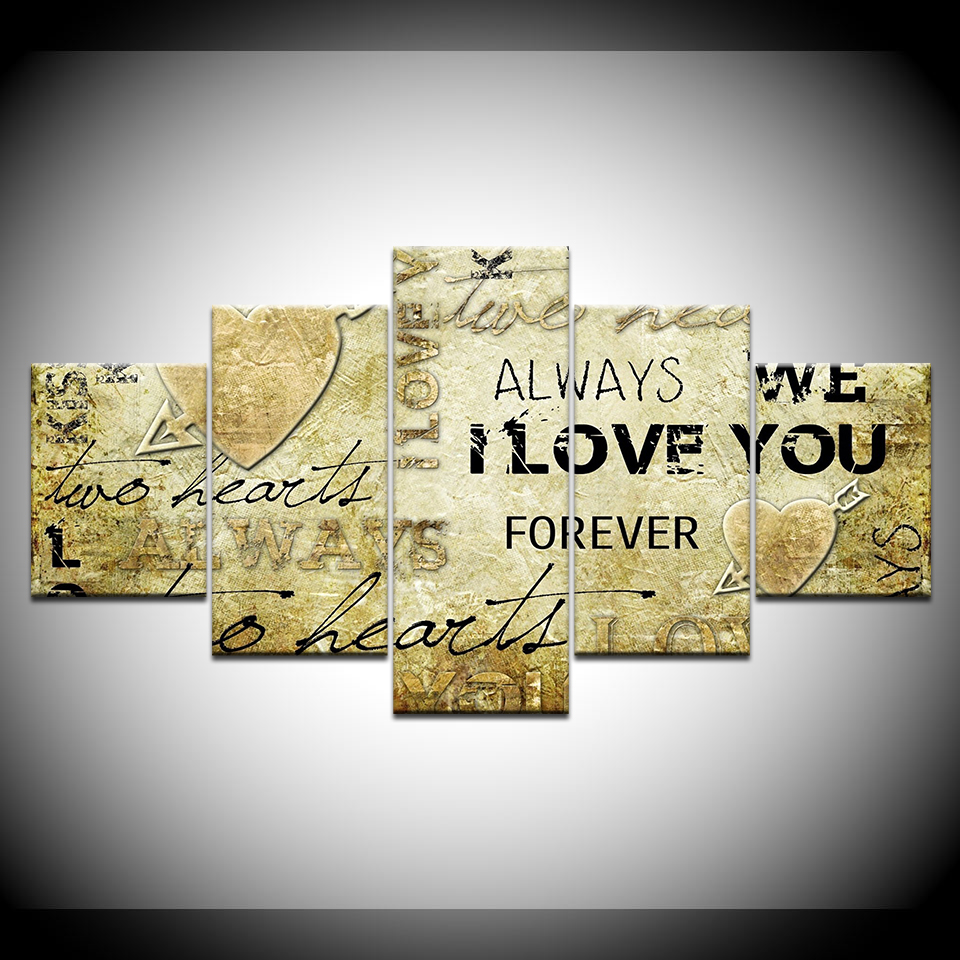Modular Pictures Wall Art Frameworks Nordic Decoration 5 Panel LOVE ...