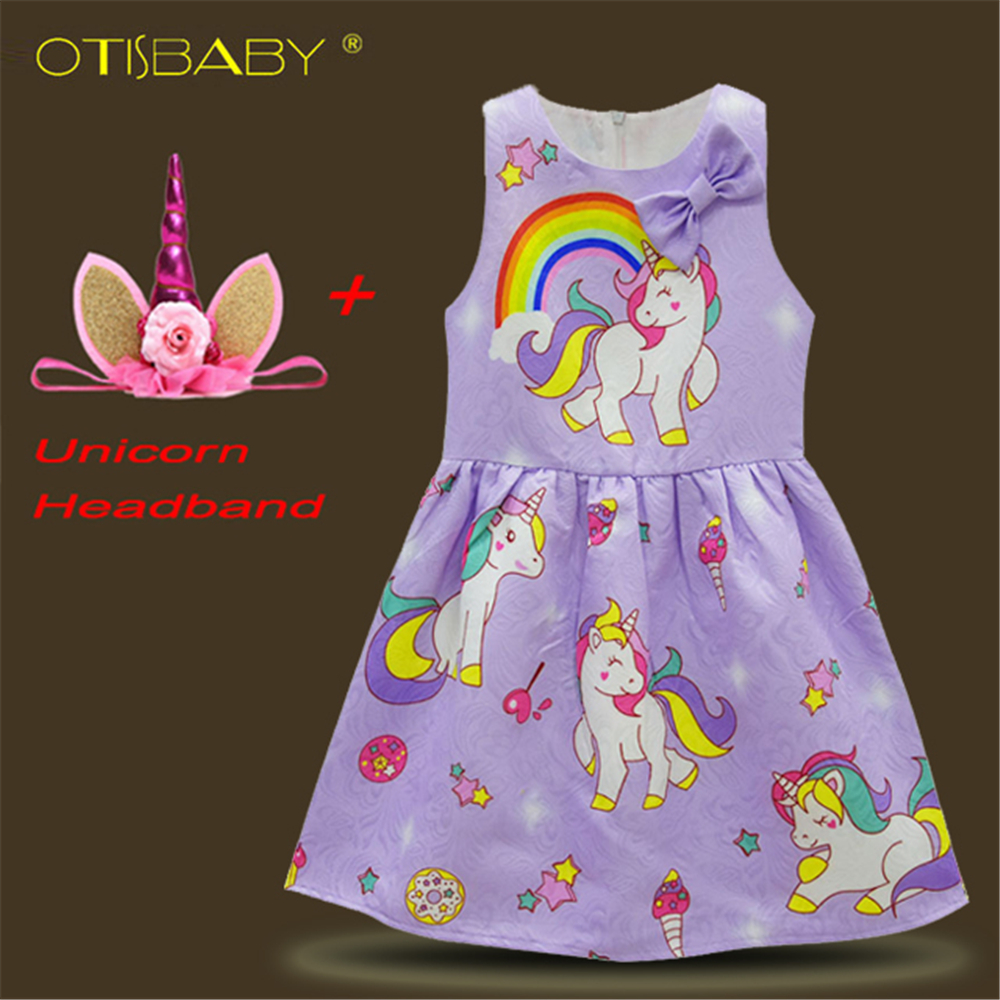 Summer Baby Girls Unicorn Dress for Birthday Party Sweet Girl Cartoon Horse Clothes Children Christmas Halloween Birthday Party