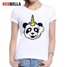 REDBELLA Graphic Tees Women Unicorn Panda Smoking Bear Animal Humor T-shirt Femme Printing Casual Cotton White Clothing Tops New