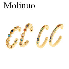 Molinuo minimalist rainbow cz circle ear cuff gold color no piercing fashion women clip earrings 2styles 2019