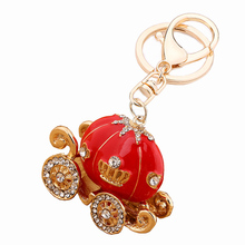 Fashion charm trinket kawaii pumpkin Rhinestone car key chain ring holder women handbag keyring girl bag