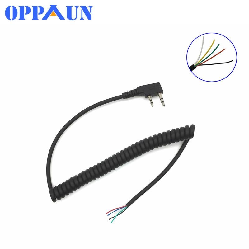 DIY 5wire Microphone Cable K Plug 2pins For Kenwood Wouxun Baofeng Puxing Lin Tontyt Quansheng Walkie Talkie