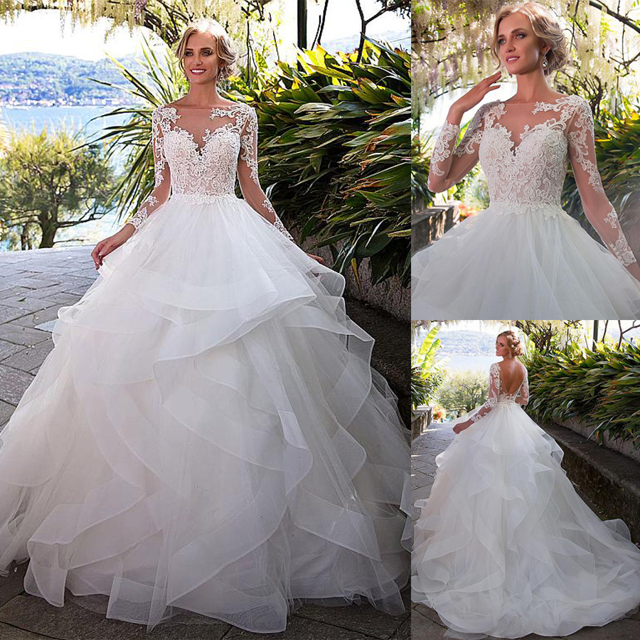 Fantastic Tulle Bateau Neckline Ball Gown Wedding Dress With Beaded Lace Appliques Ruffles Organza Long Sleeves Bridal Gown