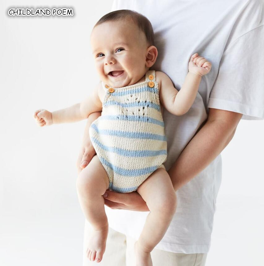 Knitted Baby Clothes Newborn Baby   Romper   100% Cotton Stripe Sleeveless New Born Infant Baby Jumpsuit Boys   Romper   Overalls