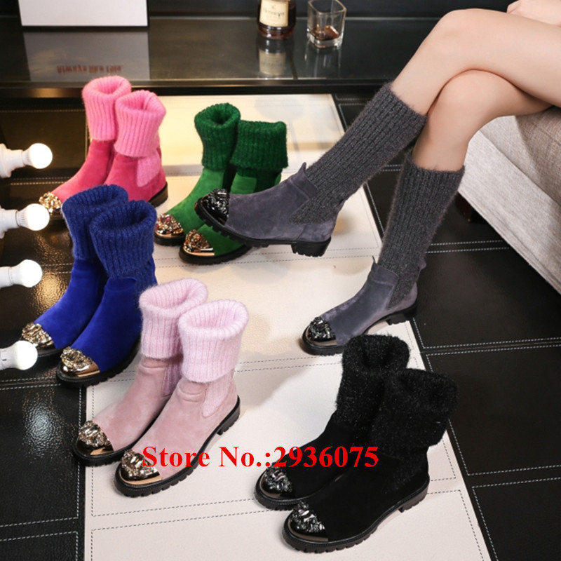 где купить Fall Winter New Long Boots Stretch Knitted Sock Metal Cap-Toe Bow Tie Ankle Boots Stacked Heels Slip-On Botas Mujer Shoes Woman по лучшей цене
