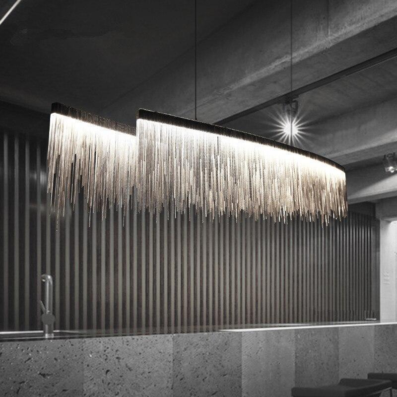 Moderno três graus de intensidade luz tassel lustre nordic restaurante luxo corrente engenharia do hotel sala estar iluminação arte