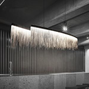 Image 1 - Remote Modern Three Grades Lamp Intensity Tassel Chandelier Nordic Restaurant Luxury Hotel Engineering Chain Living Lighting