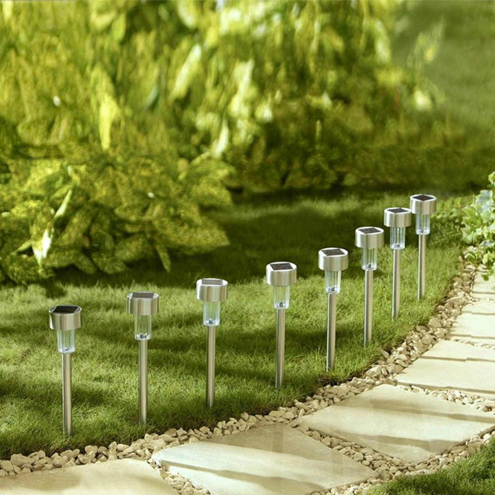 8 шт./компл. Рождество постепенное изменение светодио дный светодиодный газон свет лампы лампасветодио дный да светодиодные лампы на солнечных батареях с колом для Открытый Путь Сад