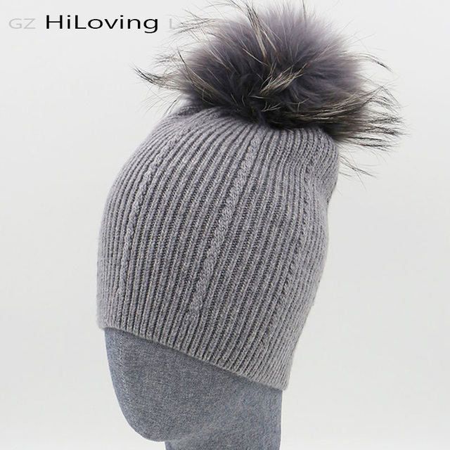 Beautiful !!! Big Real Fur Pom Pom Hat Winter Womens 100% Wool Hats Gray Fur Pompoms Knitting Beanie Hats For Gilrs Accessories