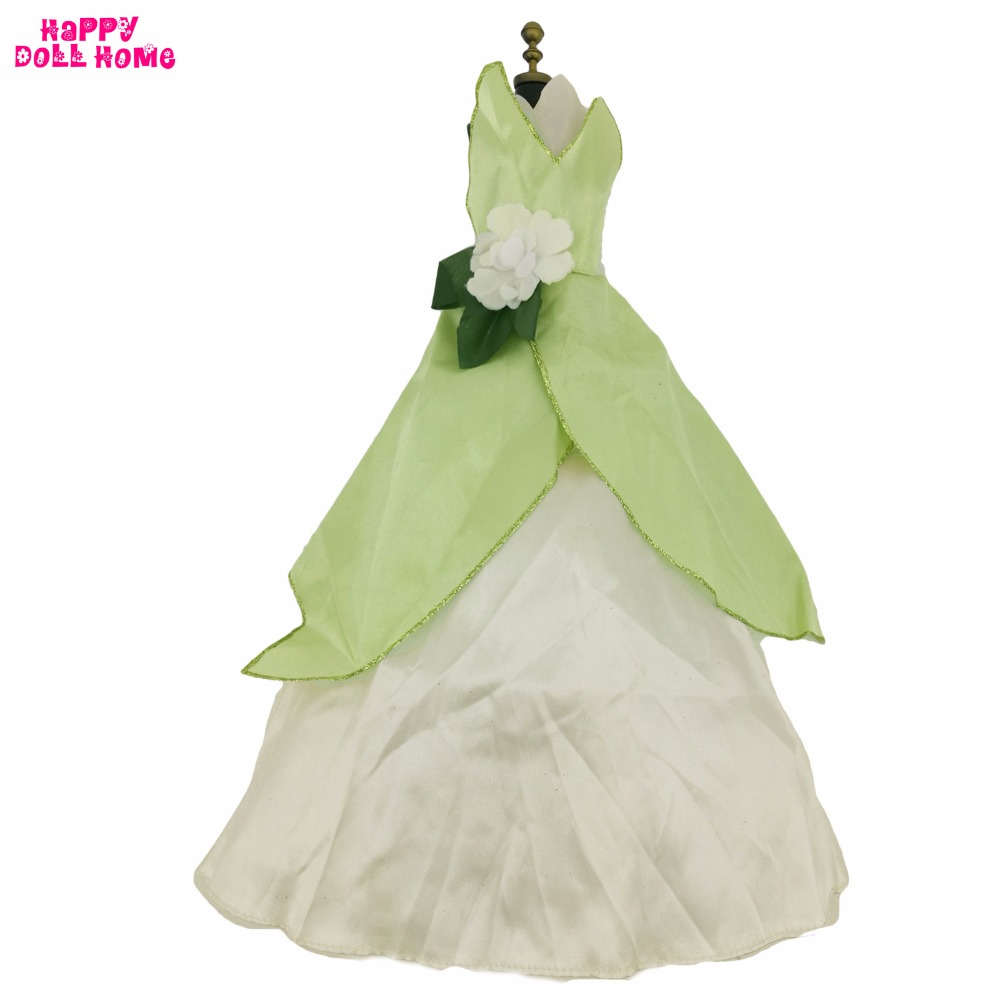 Handmade Outfit Copy Frog Princess Tiana Dress Dance Party Green Costume Cosplay Clothes For 17 Doll Kids Toy Accessories Gift american girl doll clothes halloween witch dress cosplay costume for 16 18 inches doll alexander dress doll accessories x 68