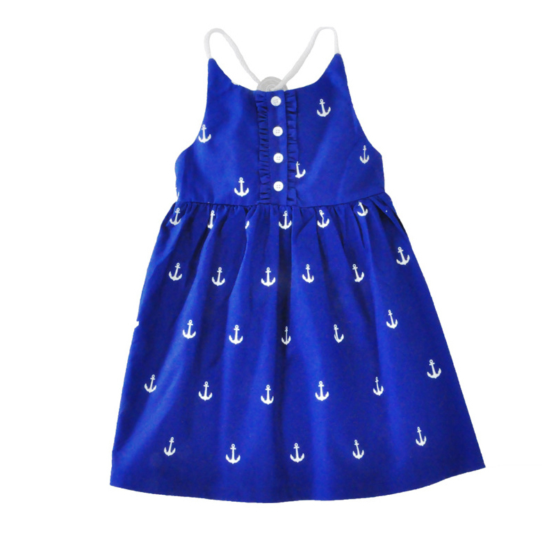 Summer Style Kids Girl Princess Dresses 2017 Navy Blue Anchor Pattern Girl Kid Princess Dress Summer Party Toddler Clothes Dress