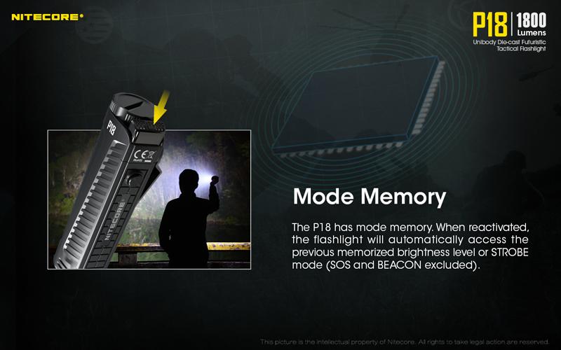 1800 Lumens Nitecore P18 Tactical Flashlight (13)