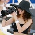 2016 nuevas mujeres del Mens Unisex Fedora del sombrero flexible del gángster Cap Beach Boho Summer Sun paja sombrero panamá parejas amantes del sombrero