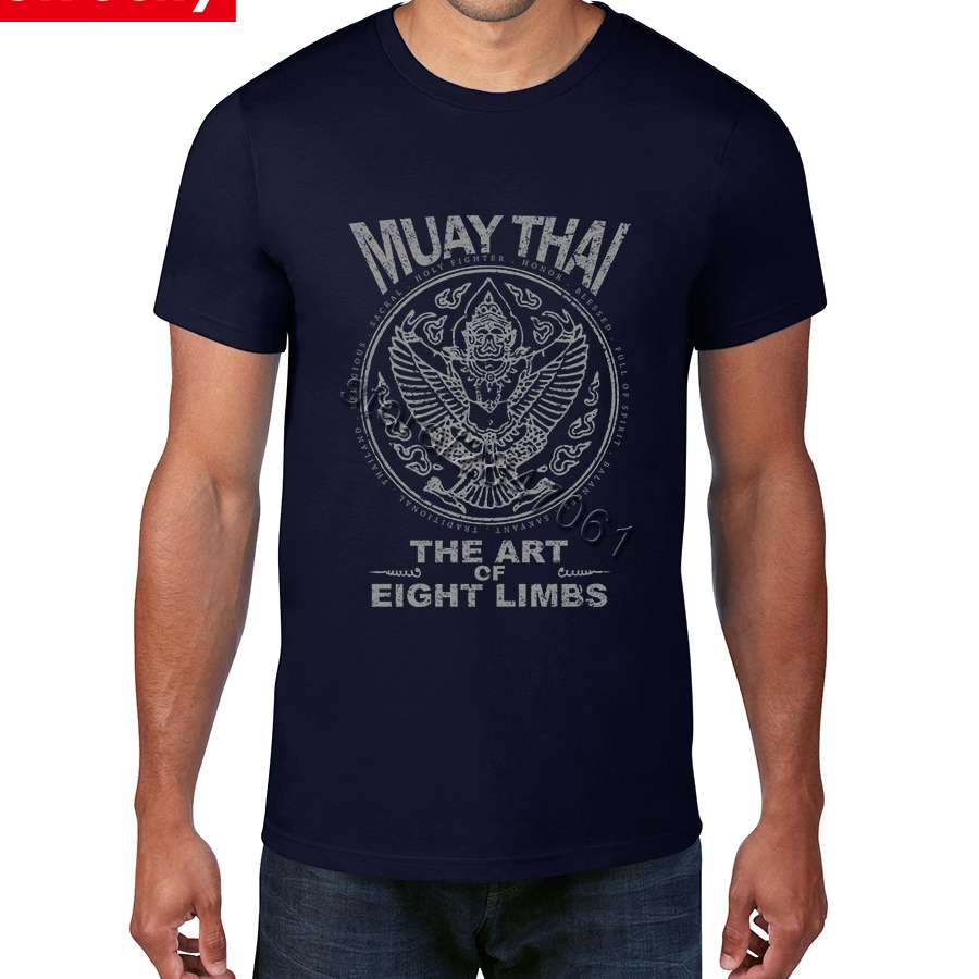 US $12 32 44% OFF|Custom Screen Printed Garuda Muay Thai T Shirt for Men  Short Sleeve Men's Organic Cotton Vintage Letter Thailand Character Tee-in